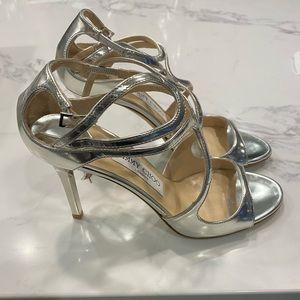 Jimmy Choo Ivette Silver Sandal Heels